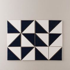 """These are our 4"""" triangles in a blend of Navy & White Wash. Choosing Navy over a black tile color is an easy way to freshen up the checkered pattern."""