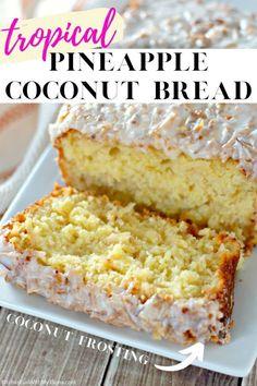 Pineapple Coconut Bread, Coconut Bread Recipe, Baking With Coconut Flour, Coconut Quick Bread, Pineapple Loaf Recipes, Sweet Bread Loaf Recipe, Quick Bread Recipes, Baking Recipes, Cookies