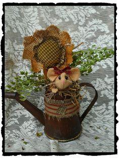Handmade *Primitive *Mouse* in Rusty Watering Can Burlap*Grungy Sunflower`OOAK* #KarenfromJosiesAttic