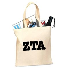 Zeta Tau Alpha Sorority Printed Budget Tote $15.95 #Greek #Sorority #Clothing #ZTA #ZetaTauAlpha #Zeta