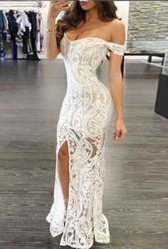 White Prom Dress,Sheath Prom Dress, Off-the-Shoulder Prom Dresses,