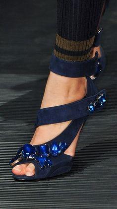 Prada Black with Blue Beads Triple Strap Pumps - Prada 2014