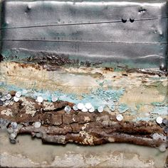 Above & Beyond #330, Robin Luciano Beaty, Encaustic and mixed media, 6 inches by 6 inches, ready to hang