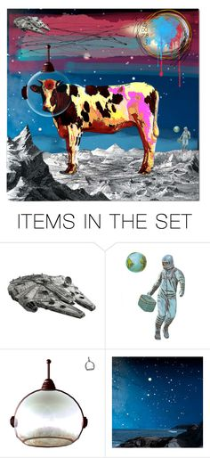 """Space Cow"" by larosita ❤ liked on Polyvore featuring art"