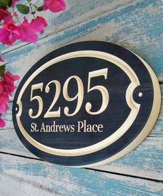 15x 9 Oval House Number Engraved Plaque