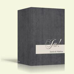 Einladung zur Hochzeit - Ja auf Grau - Hochformat