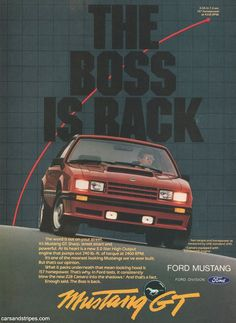 1982 Ford Mustang GT - THE BOSS IS BACK - Original Ad