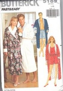 Butterick 5189. Unisex robe, shorts and tank top