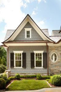Grey shingles with white trim exterior. Shingles: Blue label, sawn cedar shingles. Shingle home shingle ideas. #shingle #shinglehomes #cedarshingles #grayshingles T.S. Adams Studio. Interiors by Mary McWilliams from Mary Mac & Co.