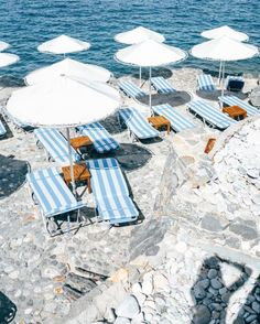 Beach chairs and umbrellas on a rocky cliffside beach on the Amalfi Coast, Italy. La Scogliera beach club in Positano. Wanderlust bucket list of places to travel on a vacation trip to Europe. Oh The Places You'll Go, Places To Travel, Travel Destinations, Summer Time Blues, Summer Vibes, Voyager C'est Vivre, Photography Beach, Photography Magazine, Editorial Photography