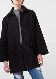 Cocoon wool-blend coat