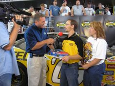 2005 Nextel Fan of the Week - Linda and I were selected as fans of the week for the race in Chicago that year I made a USG Sheetrock cake for that.  Matt Yokum from NBC was interviewing Linda and me.