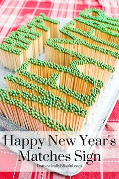 happy new year s matches sign, crafts, repurposing upcycling, seasonal holiday decor