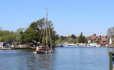 The River Bure at Horning in Norfolk looking towards the Swan Inn