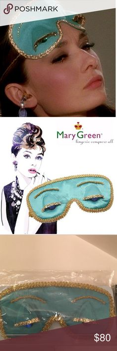 "Breakfast at Tiffany's Sleep Mask ""Breakfast at Tiffany's"" Holly GoLightly Sleep Mask by Mary Green is luxurious, stylish and actual therapeutic for your eyes. An EXACT REPLICA of the classic that we all fell in love with. Satin& Silk(BEST FOR EYES), with blue gemstones and gold trim for added style. SOLD OUT PERMANENTLY elsewhere! NEW IN SEALED UNOPENED BAG Mary Green Other"
