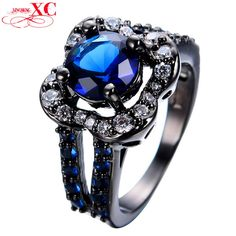 Myn Jewelry Big Flower Style Finger Ring Jewelry Black Gold Filled Blue Zircon Ring Wedding Engagement Anel RB0208. High Quality Product. High Polished / Fine Workmanship. Never Fade / Scratchproof and Anti - Allergy. Pack with Beautiful Bag as a Gift. Size info is estimate, if concern, Please leave me message.