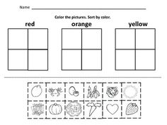 Kindergarten Math Sorting : by color, by size, by shape