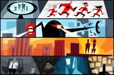 """Color Script from Pixar's """"The Incredibles"""" Color Script, Heritage Museum, Cartoon Background, The Incredibles, Animation, Disney Addict, Through The Looking Glass, Cartoon Drawings, Disney Pixar"""
