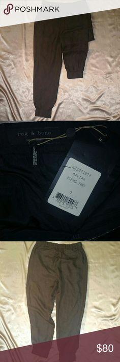 Rag and Bone Sz8 silk Alfred pants  NWT Silk Alfred pants NWT. Zip and hook closure with elastic waistband and ankles. rag & bone Pants Trousers