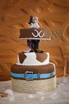 my cowhide cake idea! but with the other topper would be perfect