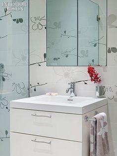 A River Runs Past It: A Loft Renovation by 212box Architecture   Glass mosaic tile in the guest bathroom is custom. #design #interiordesign #interiordesignmagazine  #decor #bathroom