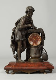 19th Cent. Bronze & Marble Clock   Cottone Auctions