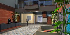 3D Rendering of a Two-Story Lobby with a large Reception Desk, Seating area, Elevator, Stairs and 2nd Floor Balcony