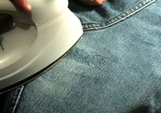 Easy ways to fix your denim. Holey Jeans, Patched Jeans, My Jeans, Denim, How To Patch Jeans, Diy Arts And Crafts, Diy Crafts, Costume Patterns, Sewing Hacks
