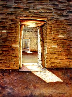 "Title: ""Many Doorways, Many Lifetimes""  Medium: Watercolor on 22 x 30 paper  Location: Chaco Canyon National Park, New Mexico"