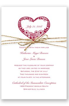 Nature's Heart Wedding Invitation in Apple by David's Bridal |Follow us and start pinning pretty paper options - from invitations and save the dates to programs and table numbers - for a chance to win $1,000 to InvitationsbyDavidsBridal.com. Enter here: http://sweeps.piqora.com/rsvpready