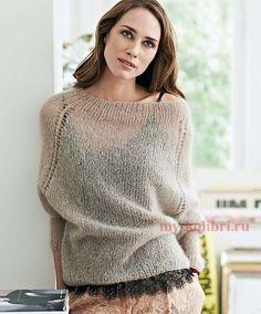 Вяжем мохеровый женский свитер спицами: схема и описание на Колибри. Мохеровые…