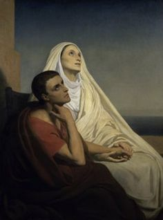 "Oil painting staring Augustine of Hippo and his mother. ""Saint Augustin et sa mère sainte Monique"" Ary Scheffer Catholic Art, Catholic Saints, Roman Catholic, Religious Art, Catholic Online, Catholic Children, Catholic Quotes, Patron Saints, Saint Monique"