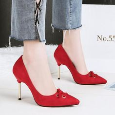 HENGSCARYING Woman 9CM High Heels Female Sexy Red Suede Shoes Pointed Toe  Strange Talon Heels Flock Scarpins Bigtree Pumps-Touchy Style-Black-6.5- ... 41023a260c1c
