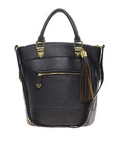 ASOS Fashion Finder | River Island Black Tassel Bucket Bag