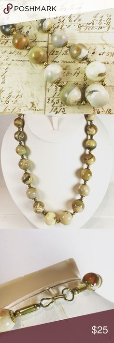Vintage stone necklace neutral color Beautiful stone beaded necklace Neutral tan and cream colors 19 inches in length Graduated beads Jewelry Necklaces
