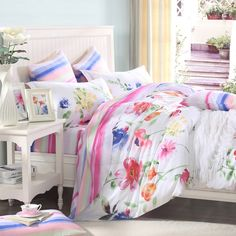 Pink Green and White Bright Colorful Flower Garden Asian Inspired Oriental Style All Cotton Percale Fabric Full, Queen Size Bedding Sets