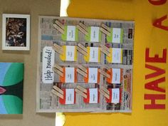 """Class jobs. """"Help Needed!"""". Laminate real ads and use pockets to hold popsicle sticks with student names on them."""
