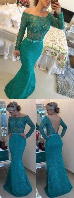 Elegant Off the Shoulder Long Sleeves Floor-Length Turquoise Lace Prom Dress with Sash Pearls M0666  #promdresses #longpromdresses #2018promdresses #fashionpromdresses #charmingpromdresses #2018newstyles #fashions #styles #teens #teensprom