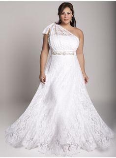Gorgeous+A-line+One-shoulder+Floor-length+Lace++Plus+Size+Wedding+Dresses