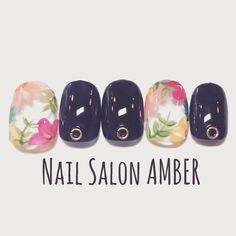 So Nails, Cute Nails, Pretty Nails, Navy Nails, Floral Nail Art, Japanese Nail Art, Summer Acrylic Nails, Trendy Nail Art, Instagram Nails