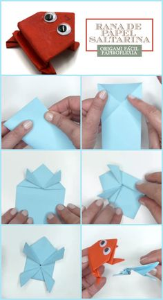 Rana De Papel Saltarina Origami Papiroflexia Facil Origami, Playing Cards, Tutorials, Paper Envelopes, Cards, Manualidades, Playing Card Games, Origami Paper, Origami Art