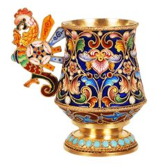 Faberge, Russian gilded silver and shaded cloisonne enamel charka with a fanciful bird handle, by Feodor Ruckert, Moscow, circa 1896 to 1908;