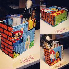Mario pencil holder perler beads by cazzhi