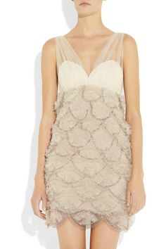 alice and olivia gold one shoulder beaded dress  | Alice + Olivia Beaded Tulle Tiered Silk Dress