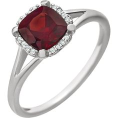 14kt White Gold Mozambique Garnet & .05 CTW Diamond Ring