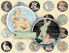 Bunnies  circles image  digital collage sheet  1 by bydigitalpaper, $4.55