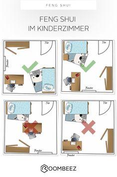 9 Tipps: Feng Shui im Kinderzimmer, - Home office design layout Feng Shui Layout, Feng Shui Bedroom Layout, Feng Shui Your Bedroom, Room Feng Shui, Feng Shui Tips, Bedroom Layouts, Small Room Layouts, Bedroom Setup, Bedroom Colors