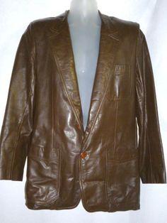 Mens Vintage PIERRE CARDIN Brown Leather Coat Jacket 40 #PierreCardin #Everyday