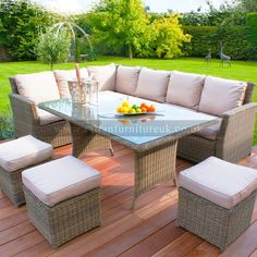 Maze Rattan - Winchester Kingston Corner Dining Set with Footstools (Beige) - Rattan Dining Sets