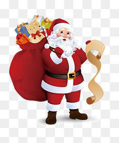 Santa Claus with his bag of presents and a naughty and nice list for Christmas Christmas Images Free, Merry Christmas Pictures, Happy Merry Christmas, Santa Pictures, Christmas Candy, Christmas Clipart, Santa Claus Clipart, Santa Claus Images, Cartoon Pics